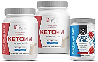 KetoLogic Keto 30 Challenge Bundle: Tim Tebow Approved | 30-Day Supply Keto Meal Replacement Shakes with MCT & BHB Exogenous Ketones Powder | Kickstarts Your Ketogenic Diet | Vanilla & Patriot Pop