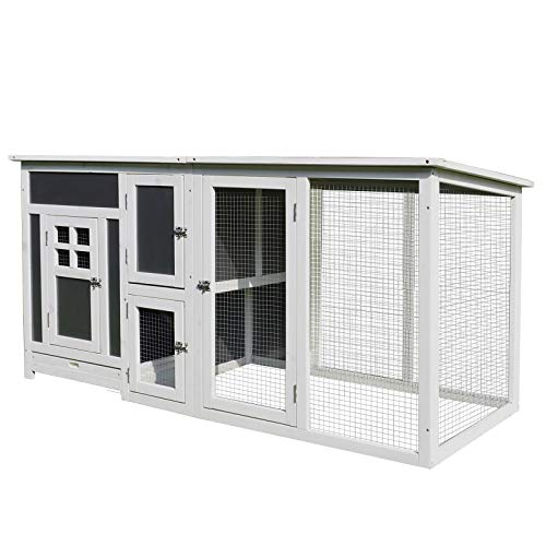 """PawHut 63"""" Wood Large Indoor Outdoor Chicken Coop with Run& Nesting Box - Grey and White"""