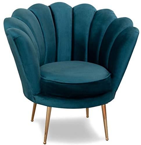 Casa Padrino sillón de salón de diseño Art Deco Turquesa/latón 80 x 50 x A. 80 cm - Muebles de Salón Art Deco