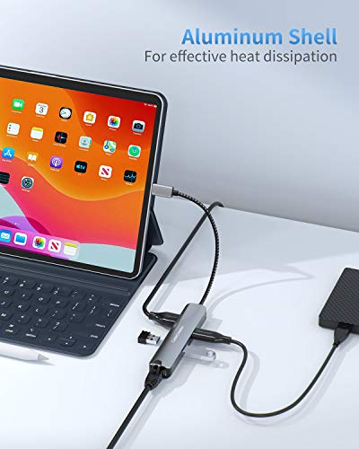 USB-C Hub Multiport Adapter, CableCreation 6 Port Typ C Hub, mit 4K HDMI, Ethernet-Anschluss, 3 USB 3.0-Anschlüsse, für MacBook Pro 2020/2019, Macbook Air 2020, iPad Pro 2020, Surface Go, XPS und mehr