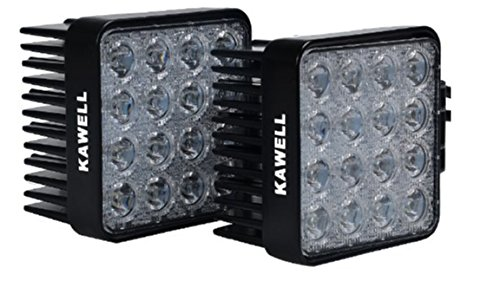 KAWELL 2 Pack 48W 4.3 Inches Square LED Flood Light Offroad Driving Work Lamp Auxiliary Fog Lights for Jeep Car Truck Tractor Motorcycle Boat