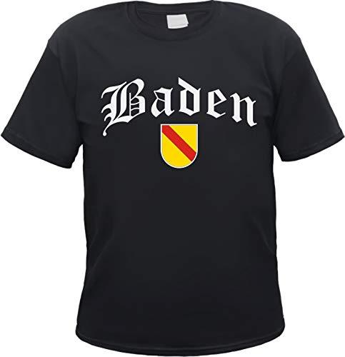 Baden Herren T-Shirt - Altdeutsch mit Wappen - Tee Shirt Schwarz 3XL