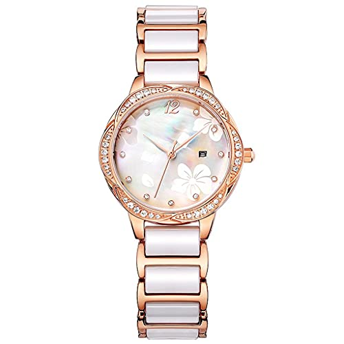 JYTFZD YANGHAO-Reloj de Pulsera- Reloj de Mujer Moda de cerámica 2021 Nuevo trébol Reloj de Mujer Impermeable Diamante OUZDNSSB-5