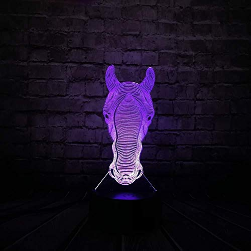 Night Light Novelty Table Lamp Animal Head 3D Lamp Night Light Switch Touch Projection 3D Led Desk Decor with Remote