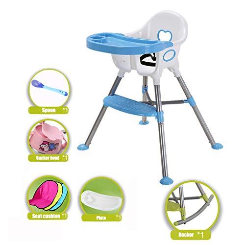 Qujifangedcy Kinderstoel, 5in1 Kid Eet Hoge Stoelen Schommelstoel Multi Zitstoel met Plaatveiligheidsriem, Blauw/Roze/Groen, voor Thuis, voor 0-3 Jaar Oude Kinderen