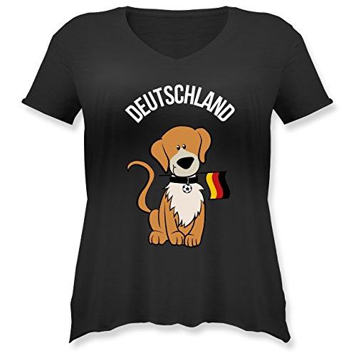 Fußball-Europameisterschaft 2020 - Fußball Deutschland Hund - L (48) - Schwarz - JHK603 - Weit geschnittenes Damen Shirt in großen Größen mit V-Ausschnitt