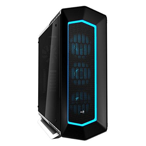 Aerocool P7C1PRO - Caja gaming para PC (semitorre, ATX, Iluminación RGB 4 modos, panel lateral cristal templado, 7 ranuras expansión, + HUB P7H1, + 3 ventiladores P7F12 y 1 trasero 12cm), color blanco