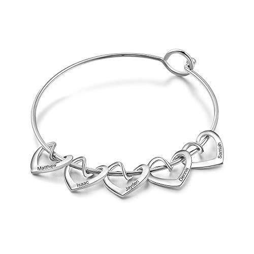 Personalizado Pulsera con 2-5 Nombre Grabado Colgantes de Corazón Acero Inoxidable Pulsera para Mujer Amistad Familia Regalo para Navidad Cumpleaños Día de la Madre