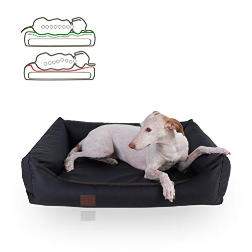 DOGGYFIT orthopädisches Hundebett Buddy, Kunstleder, Farbe Schwarz 100 x 80