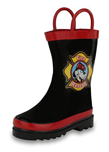 AccessoWear Boy's Black Fire Dog Rain Boots (Toddler/Little Kid) (3-4 M US Toddler)