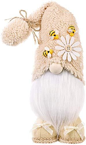 Super Idee Stehende Niedliche Bienen Wichtel Deko Süßer Zwerg Wichtel Figuren mit Blumen und Bienen und Beige Mütze Frühlingswichtel Osterdeko Sommerdeko Ideal zur Geburtstag Party (Beige)