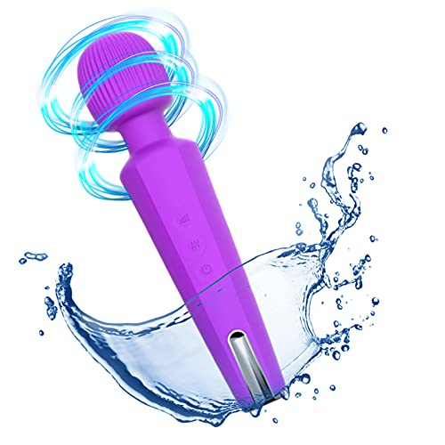 Personal Massager for Women 20 Magic Vibration Modes Cordless Wand Massager Magnetic Charging Waterproof Whisper Quiet Suitable for Restoring Muscle Soreness(Purple)