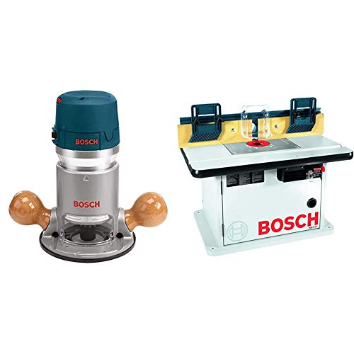 Bosch 1617EVS 2.25 HP Electronic Fixed-Base Router & Cabinet Style Router Table RA1171
