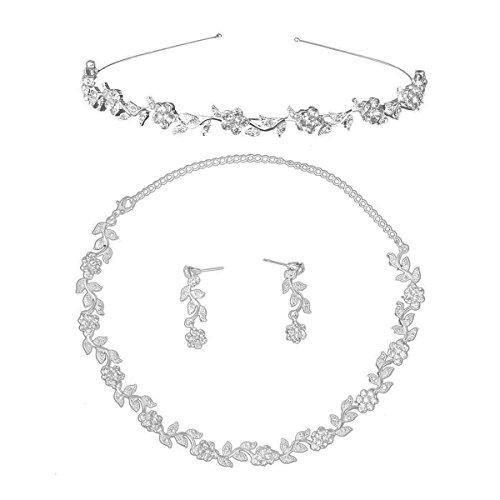 Rosenice - Juego de joyas para boda - Diadema, cadena y pendientes de cristal con diseño de hojas