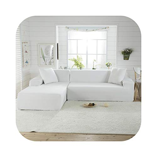 HCIUUI Solid Color Corner Sofa Cover for Living Room Elastic Spandex Slipcover Couch Cover Stretch Sofa Towel L Shape 2 Piece-Color 1-2seater and 4seater