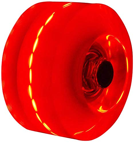 Outdoor Roller Skate Wheels Luminous Light Up, with Installed Bearings, Roller Skate Wheels for Outdoor or Indoor Double Row Skating and Skateboard, 32mm x 58mm, 4 Pack (Red)