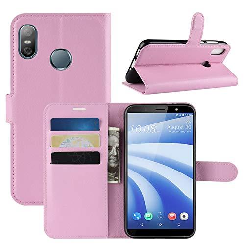 HualuBro HTC U12 Life Hülle, Premium PU Leder Leather Wallet HandyHülle Tasche Schutzhülle Flip Hülle Cover mit Karten Slot für HTC U12 Life Smartphone (Pink)