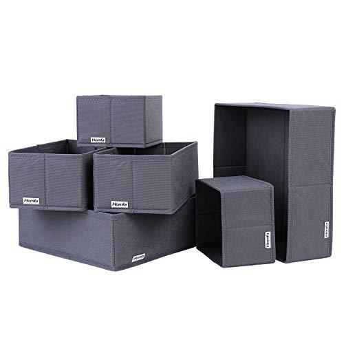Homfa 6 Stück Aufbewahrungsbox Ordnungsbox Stoff faltbar für Schubladen Dunkelgrau Set