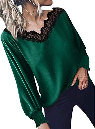 Elegancity Damen Bluse Grün V Ausschnitt mit Spitzen Schick Tunika Mit Laternenärmel Langarmshirt Elegant Hemd Dame Oberteile Blusen Tops S