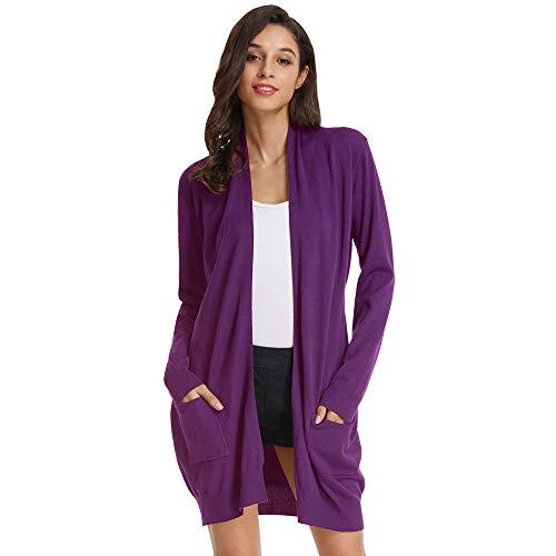 Mujer suéter Abrigo cárdigan Verano Elegante Ancho elástico Color sólido S CLAF1003-13