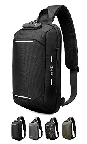 Crossbody Sling Bag for Men & Women Anti Theft Travel Sling Backpack Chest Bags with USB Casual Daypack Hiking Waterproof Shoulder Bag (Black)