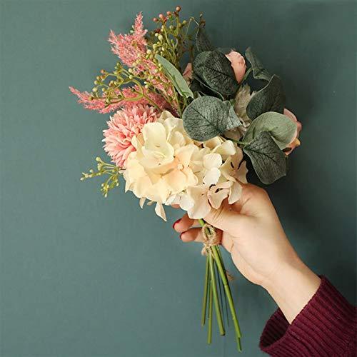 XBDD Ramo de hortensias artificiales de seda de peonía falsa de eucalipto,...