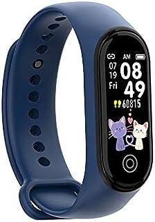 LINGJIA Pulsómetros Smart Fitness Bracelet Tracker Relojes Podómetro Monitor De Frecuencia Cardíaca Presión Arterial Reloj Deportivo Reloj Pulsera Fitness Tracker Azul
