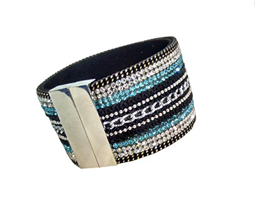 Magnetarmband / Straßarmband Armreif mit Magnetverschluß, 18,5 cm, schwarz-türkis