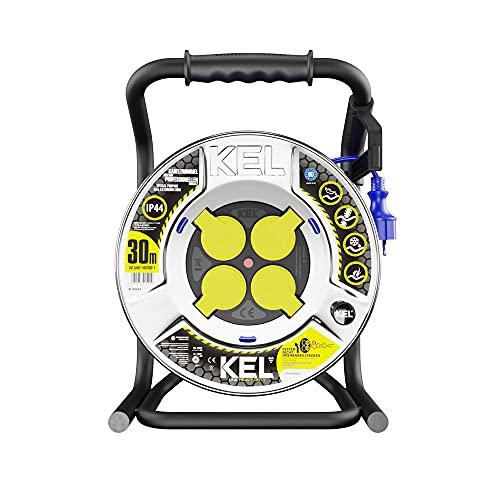 KEL -ELECTRIC - Tambor de cable metálico con 30 m de poliuretano 3 x 1,5 mm2, 230 V/16 A - Cable alargador - Tambor con 4 enchufes de protección IP44