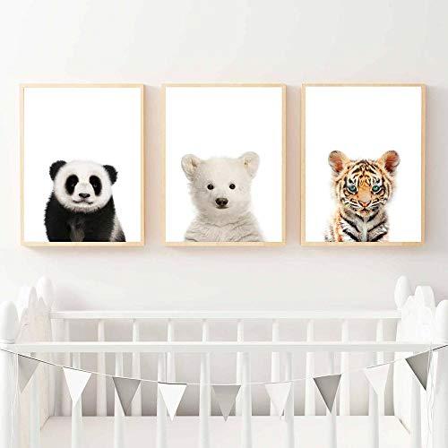 León Panda Elefante Jirafa Bebé Animales Lámina Poster Safari Animales Imágenes Lienzo Pintura Niños Habitación Vivero Decoración de Pared 30x40cm sin Marco