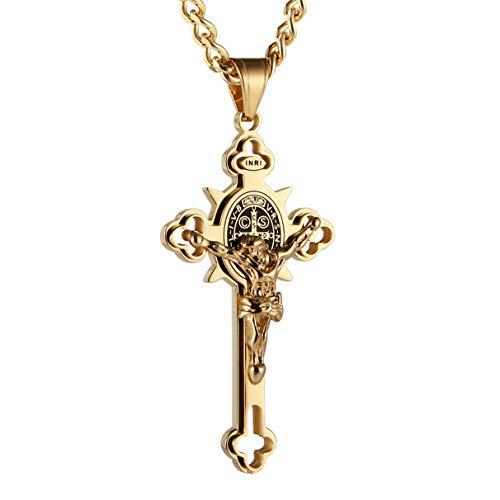 HZMAN Stainless Steel Saint St St. Benedict Crucifix Cross Pendants Necklace INRI (Large Gold)