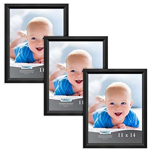 Icona Bay 11X14 Picture Frame (Obsidian Black Wood Finish, 3 Pack), Traditional Style Composite Wood Frame for Walls or Tables, Cherished Memories Collection