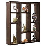 Space Art Deco 9 Compartment Shadow Box Display Shelf/Organizer for Wall or Table/Desk, Dark Brown Wood Finish - Shadow Box Decor - Small Item Display Unit - Memorabilia Holder (9 Compartment)