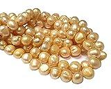 23 perlas cultivadas de agua dulce, 9 ~ 8 mm, color beige, grano de arroz natural, barroco, piedras preciosas, perlas para enhebrar