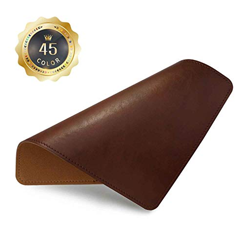 PU Leather Mouse Pad with Stitched Edge Micro-Fiber Base with Non-Slip, Waterproof, Mouse Pad for Computers, Laptop, Office & Home,1 Pack, 8inch11inch (Brown)