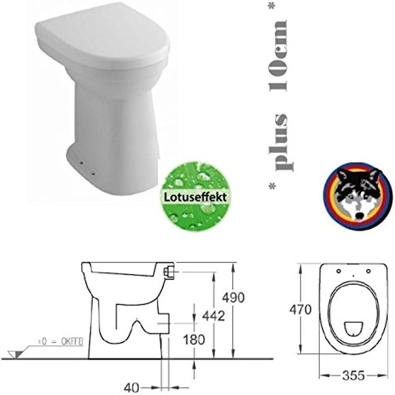 Keramag Allia Paris Care Standflachspül WC Stand Flach erhht +10cm Lotusclean + Haro WC Sitz