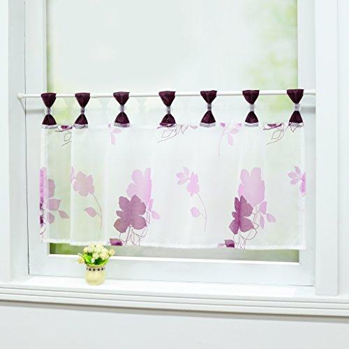 Joyswahl Scheibengardine Voile Bistrogardine Maria mit Blumenmotive Transparente Kurzstore HxB 45x120cm Violett 1er Pack