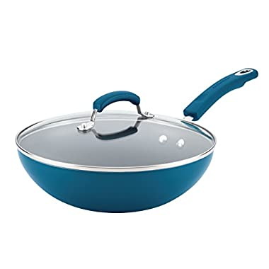 Rachael Ray 17648 Aluminum Nonstick Stir Fry Pan with Glass Lid, 11 , Marine Blue Gradient