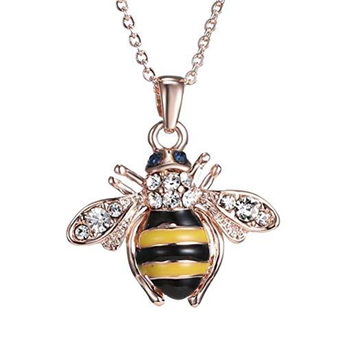 Elegent Crystal Yellow Little Bee Colored Glaze Drip Honey Bee Little Bumblebee Pendant Necklace