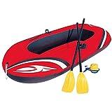 Qinmo Bateau en Caoutchouc Gonflable, Kayak Deux Thicker Kayak Bateau Gonflable Dériveur Hovercraft Gonflable Assault Bateau de pêche Bateau/Rouge