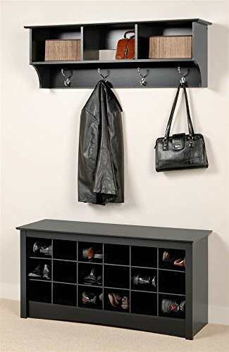 Prepac Entryway Wall Mount Coat Rack w Shoe Storage Bench in Black