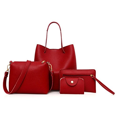 BCDshop Women Faux Leather Handbag+Crossbody Bag+Messenger Bag+Card Purse Wallet -4Pcs (Red)