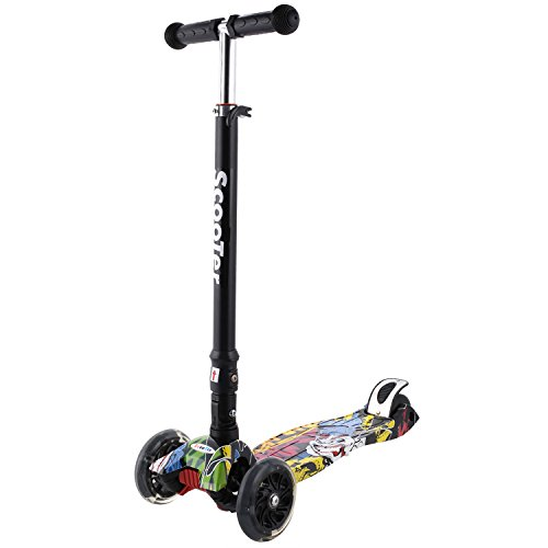 Profun Patinete Plegable con 4 Ruedas PU con Led Luces...