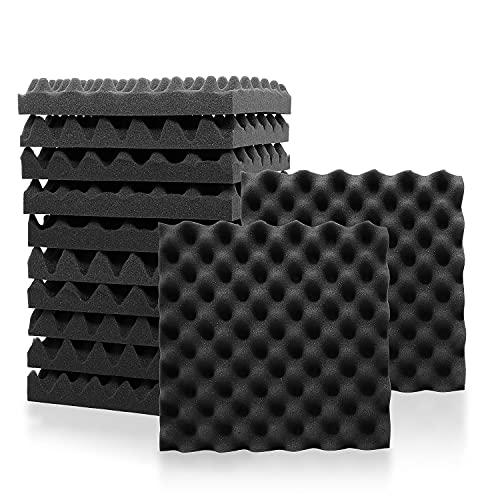 Eneru 吸音材 波型 30x30x5cm 12枚のセット 防音材 ウレタン スポンジ 吸音 パネル 騒音 吸音対策 音響調節 ロードノイズ低減 緩衝材 スタジオ/録音室/ホームシアター/オーディオルーム等に適用 高密度 多孔質 ポリウレタン 黒