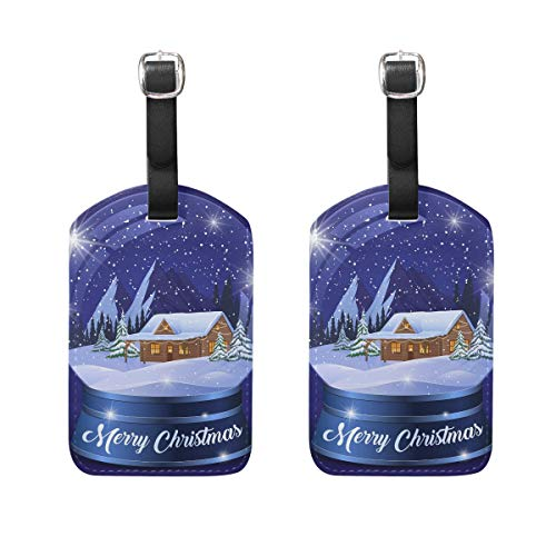 COOSUN Christmas Winter Landscape Globe Luggage Tags Travel Labels Tag Name Card Holder for Baggage Suitcase Bag Backpacks, 2 PCS