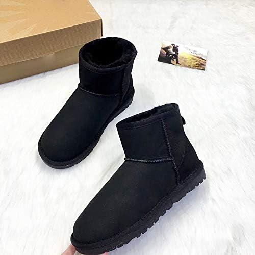 Shukun Botines botas Planas, botas de Nieve, Tubo Corto de mujer, Parte Inferior Plana Caliente, Antideslizante