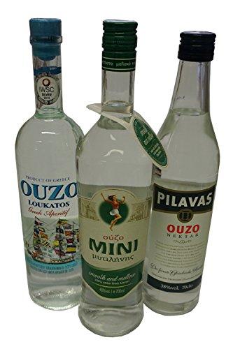 3x Lieblings Ouzo Mini Mytilini 40% Pilavas 38% Loukatos 38% je 700ml aus Griechenland griechischer Traditions Trester mild - 3er Set + 10ml Olivenöl oder 2g Kaffee Frappe Sachet zum testen