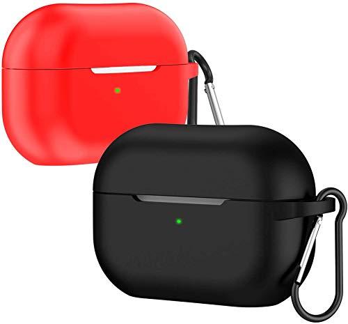 ivoler Funda para Airpods Pro con LED Frontal Visible, Anti-rasguños, Anti-Polvo, Funda Silicona con Mosquetón para Airpods Pro (2019) - Ngero y Rojo