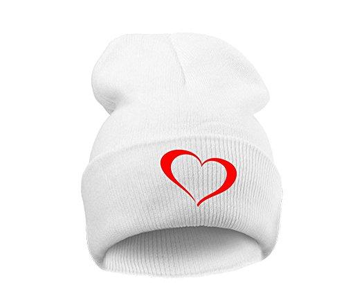 4sold Bonnet - Homme noir Noir Taille universelle (Heart white red)