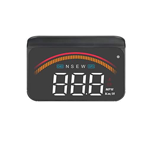 Head up display per auto, display HUD per auto iKiKin con GPS OBD2 doppia interfaccia USB, sistemi di allarme e proiettore per parabrezza digitale